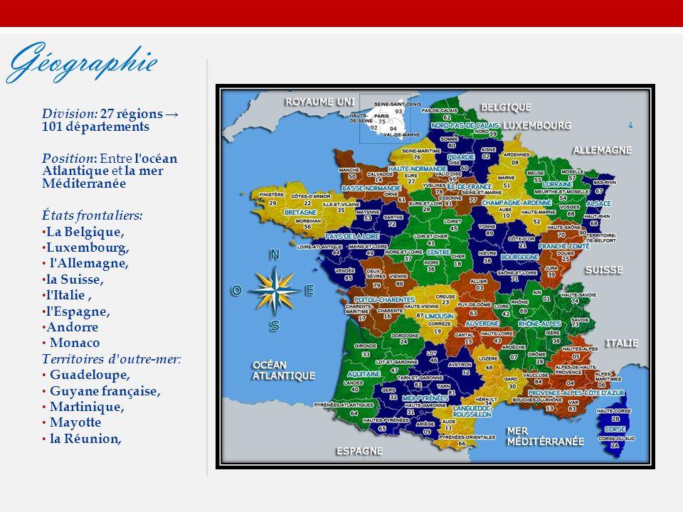 Géographie Division: 27 régions → 101 départements Position : Entre l océan Atlantique et la mer Méditerranée États frontaliers: La Belgique, Luxembourg, l Allemagne, la Suisse, l Italie, l Espagne, Andorre Monaco Territoires d outre-mer : Guadeloupe, Guyane française, Martinique, Mayotte la Réunion, 4