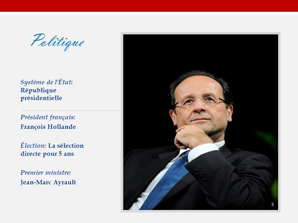 Politique Système de l État: République présidentielle Président français: François Hollande Élection: La sélection directe pour 5 ans Premier ministre: Jean-Marc Ayrault 5 5