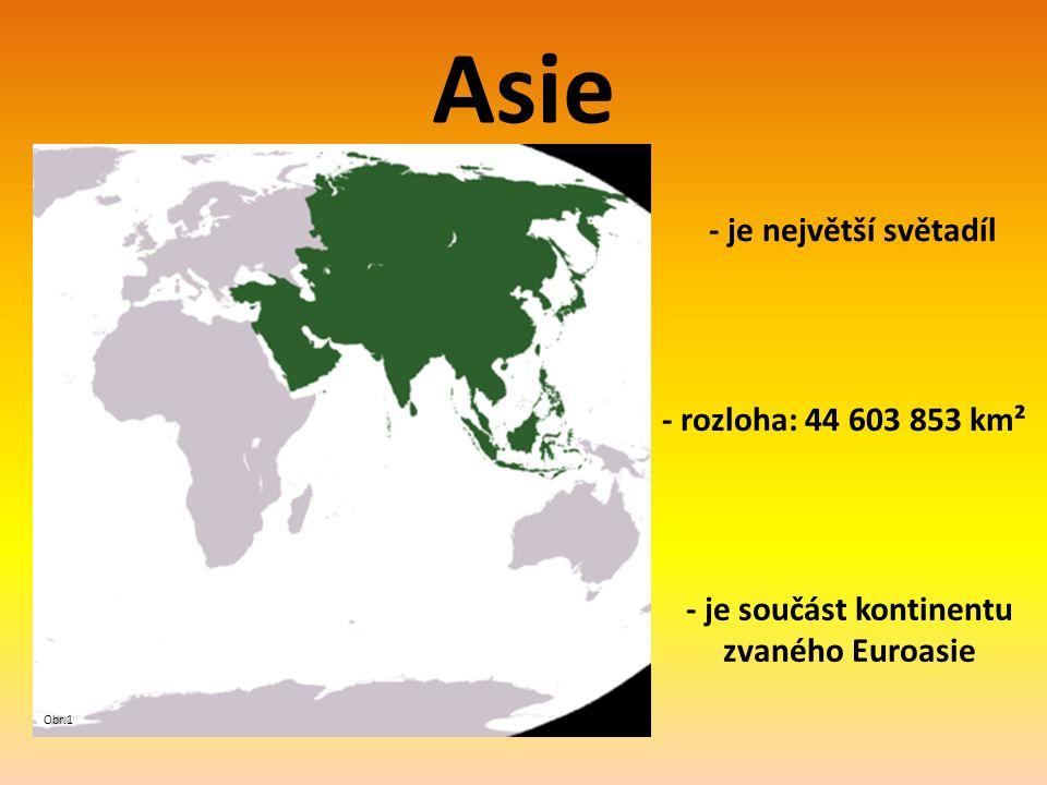 Asie - je největší světadíl Obr.1 - rozloha: 44 603 853 km² - je součást kontinentu zvaného Euroasie