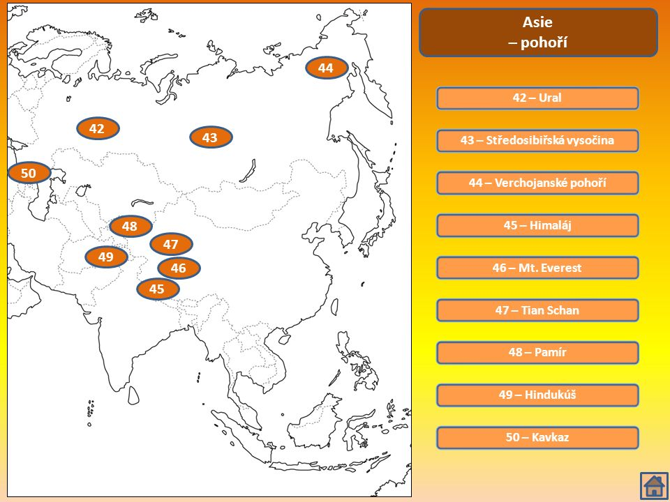 51 – Ob Asie – řeky a jezera 52 – Jenisej 53 – Lena 54 – Amur 55 – Chuang - che 56 – Mekong 57 – Ganga 58 – Indus 59 – Tigris 60 – Eufrat 61 – Amudarja 62 – Syrdarja 63 – Kaspické moře 64 – Aralské jezero 65 – Bajkal 51 52 53 54 55 56 57 58 59 61 62 63 64 65 60 66 – Balchaš 66