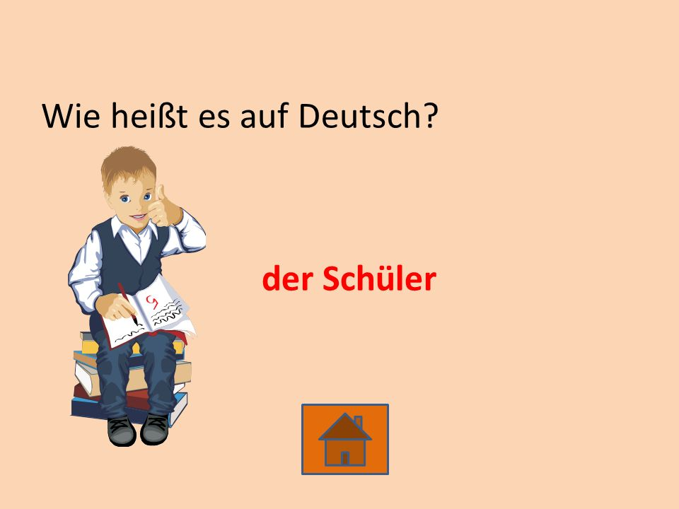 Wie heißt es auf Deutsch? der Schüler