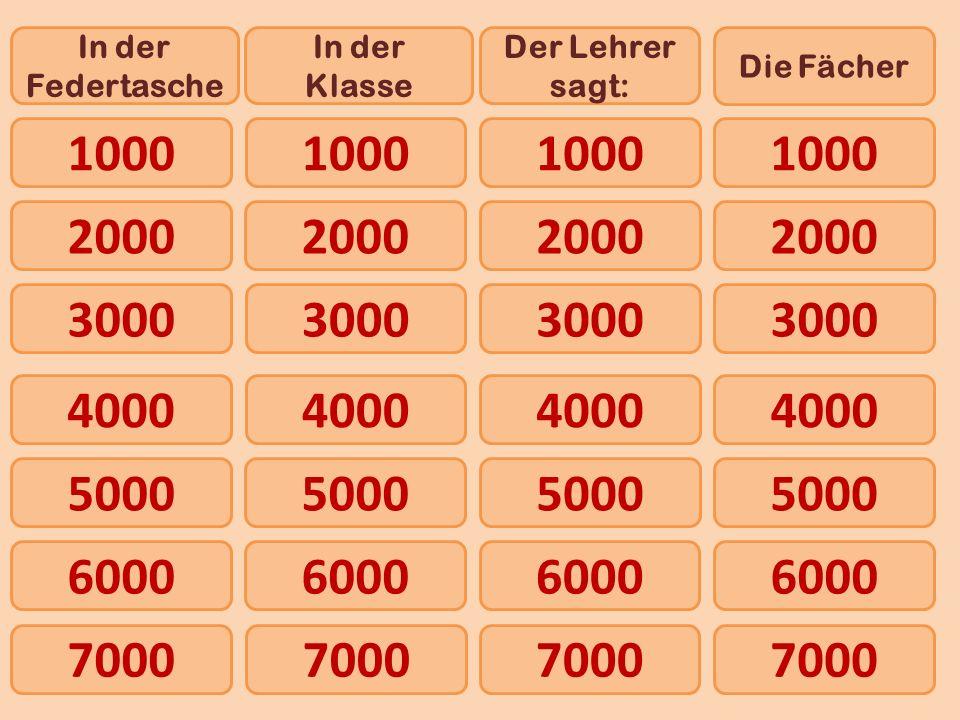 1000 In der Federtasche In der Klasse Der Lehrer sagt: Die Fächer 2000 4000 5000 6000 3000 7000 1000 2000 3000 4000 5000 6000 7000