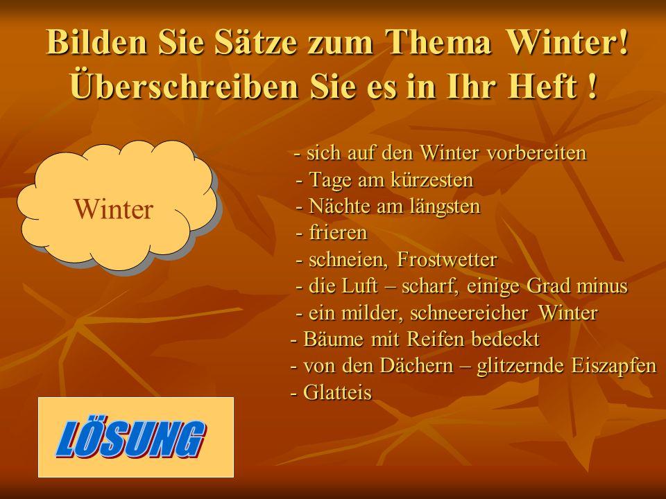 Bilden Sie Sätze zum Thema Winter. Überschreiben Sie es in Ihr Heft .