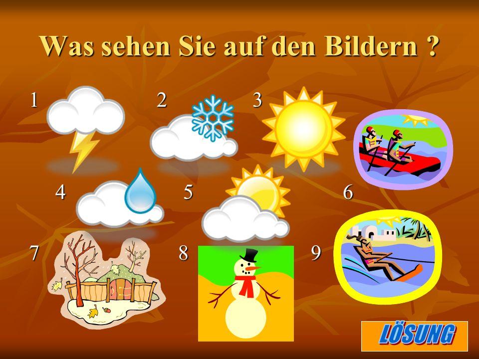 1.es blitzt 2. es schneit 3. die Sonne scheint 4.