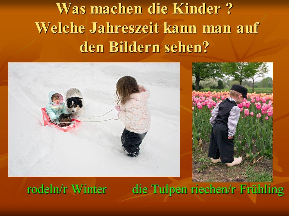 Was machen die Kinder . Welche Jahreszeit kann man auf den Bildern sehen.
