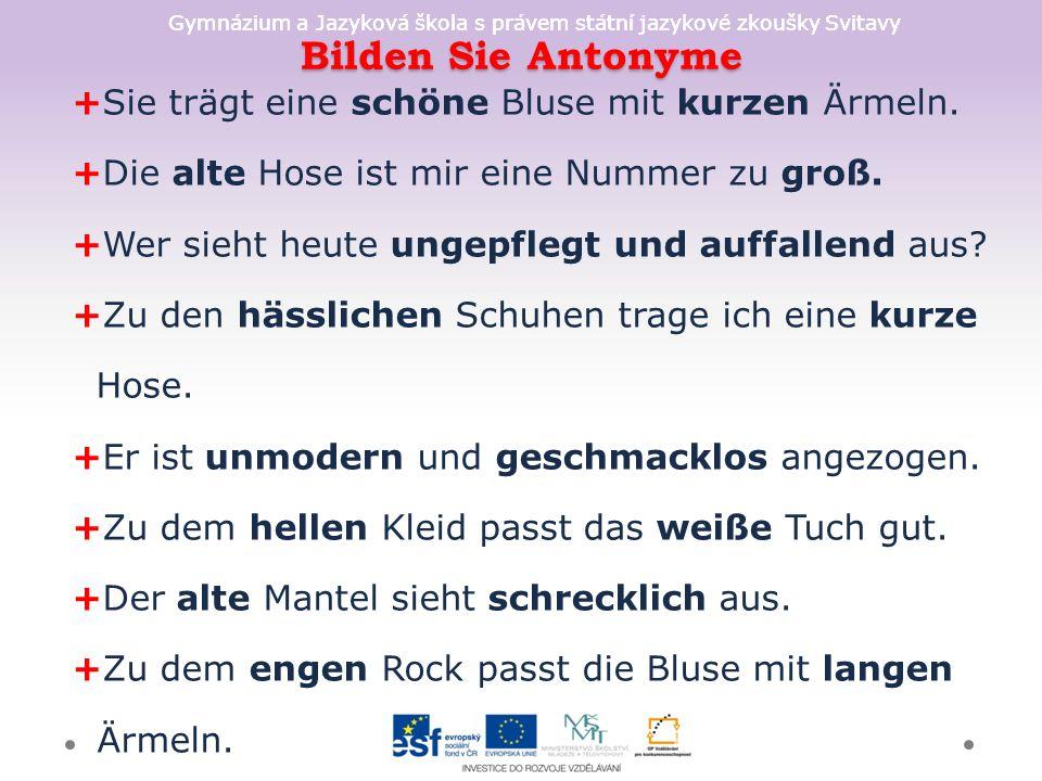 Gymnázium a Jazyková škola s právem státní jazykové zkoušky Svitavy Bilden Sie Antonyme +Sie trägt eine schöne Bluse mit kurzen Ärmeln. +Die alte Hose
