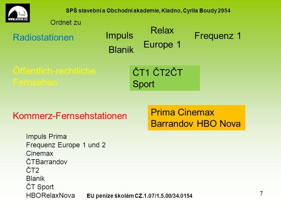 SPŠ stavební a Obchodní akademie, Kladno, Cyrila Boudy 2954 EU peníze školám CZ.1.07/1.5.00/34.0154 6 Radio Rundfunk Übersetzt der Fernseher,- öffentlich-rechtlich das anspruchsvolle Publikum der Film,-e mit Titeln die Sendung,-en über die Welt die Lehrsendung,-en die Sportübertragung,-en die Kommerz-Fernsehstation,-en der Zuschauer, - bevorzugen ausruhen sich amüsieren sich Fernsehen Welche Programme gehören zu dem öffentlich-rechlichen Fernsehen.