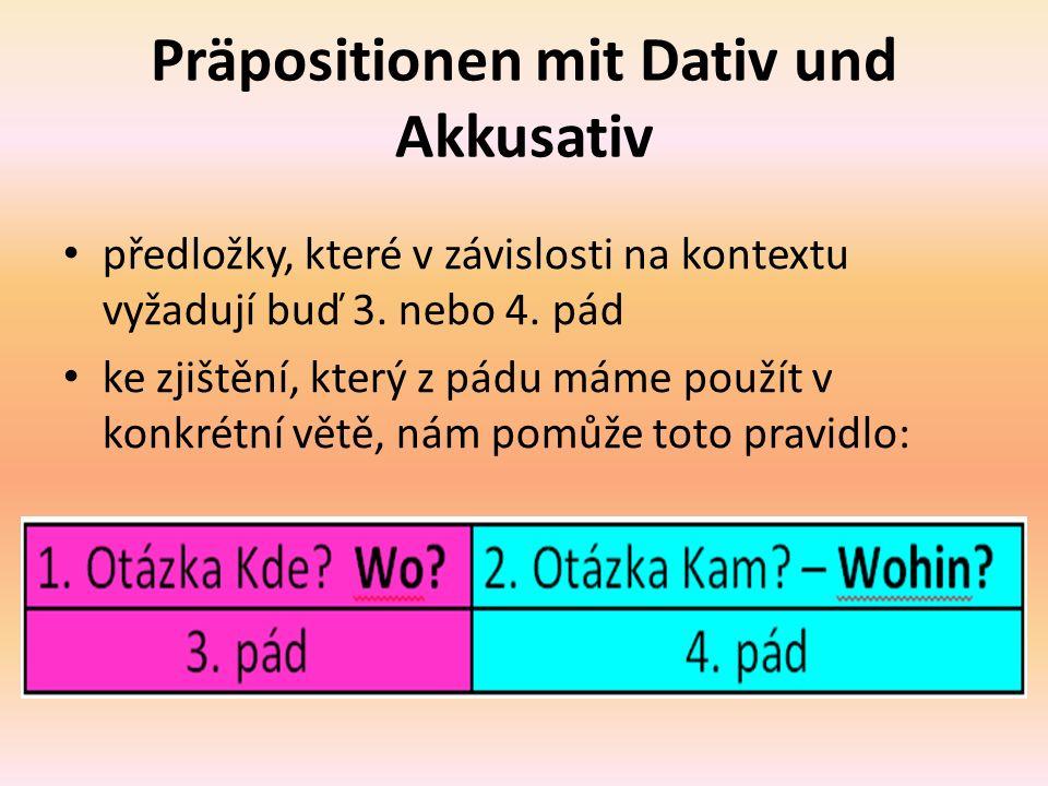 Nejčastěji užívané předložky se 3. a 4. pádem