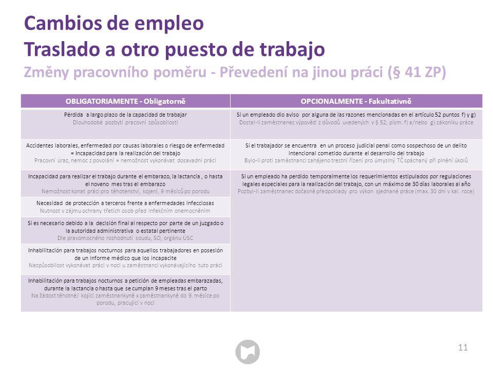 Cambios de empleo Traslado a otro puesto de trabajo Změny pracovního poměru - Převedení na jinou práci (§ 41 ZP) 11 OBLIGATORIAMENTE - ObligatorněOPCI