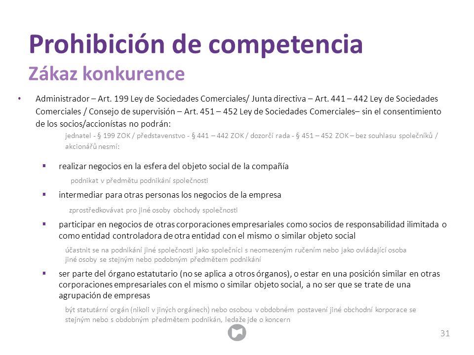 Administrador – Art. 199 Ley de Sociedades Comerciales/ Junta directiva – Art. 441 – 442 Ley de Sociedades Comerciales / Consejo de supervisión – Art.