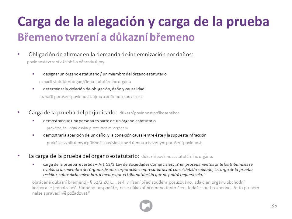 Obligación de afirmar en la demanda de indemnización por daños: povinnost tvrzení v žalobě o náhradu újmy:  designar un órgano estatutario / un miemb