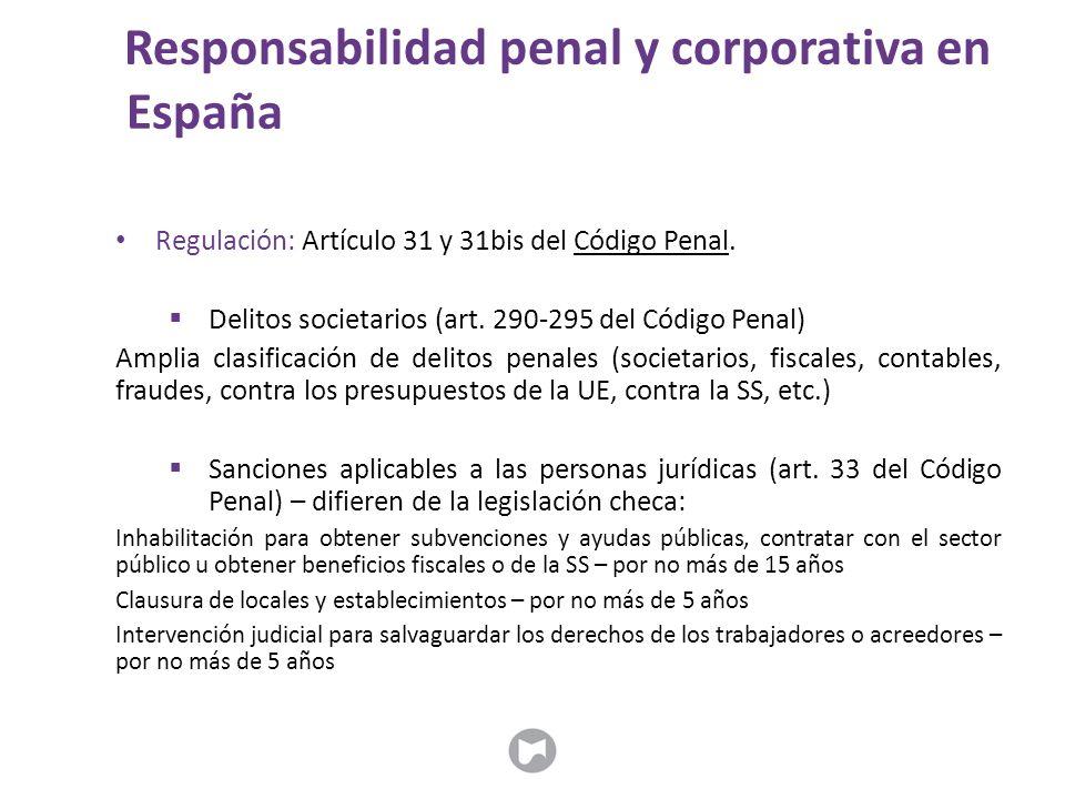 Regulación: Artículo 31 y 31bis del Código Penal.  Delitos societarios (art. 290-295 del Código Penal) Amplia clasificación de delitos penales (socie