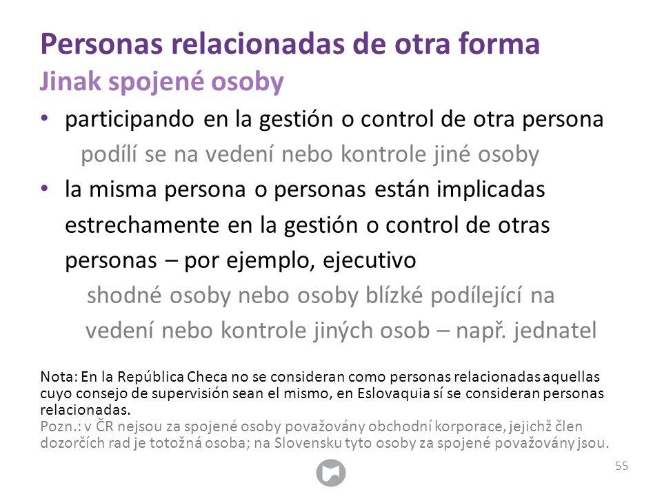 Personas relacionadas de otra forma Jinak spojené osoby participando en la gestión o control de otra persona podílí se na vedení nebo kontrole jiné os