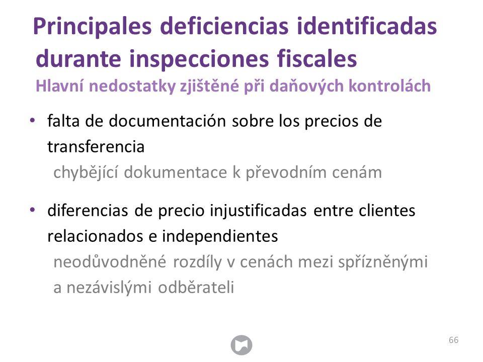 Principales deficiencias identificadas durante inspecciones fiscales Hlavní nedostatky zjištěné při daňových kontrolách falta de documentación sobre l