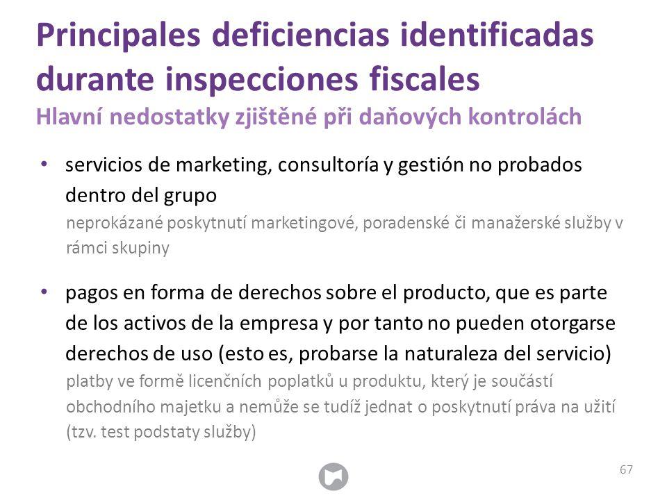Principales deficiencias identificadas durante inspecciones fiscales Hlavní nedostatky zjištěné při daňových kontrolách servicios de marketing, consul