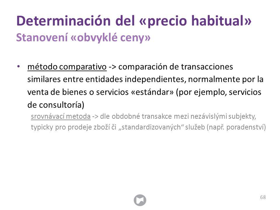 Determinación del «precio habitual» Stanovení «obvyklé ceny» método comparativo -> comparación de transacciones similares entre entidades independient