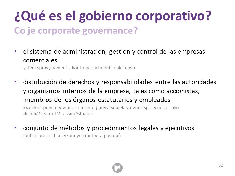 ¿Qué es el gobierno corporativo. Co je corporate governance.