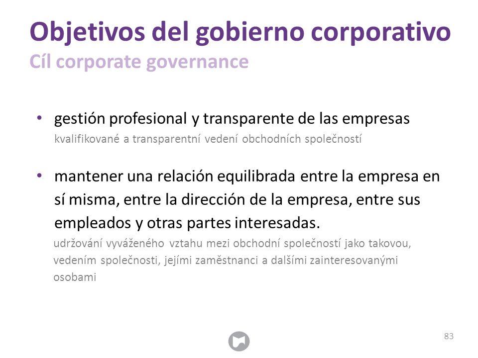 Objetivos del gobierno corporativo Cíl corporate governance gestión profesional y transparente de las empresas kvalifikované a transparentní vedení ob
