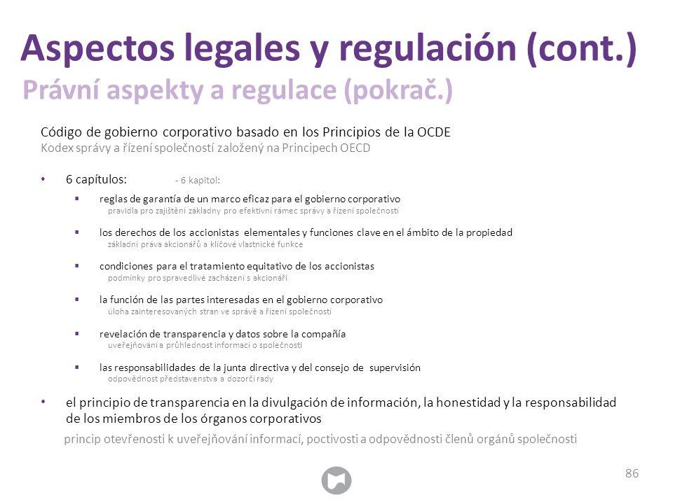 Código de gobierno corporativo basado en los Principios de la OCDE Kodex správy a řízení společností založený na Principech OECD 6 capítulos: - 6 kapi