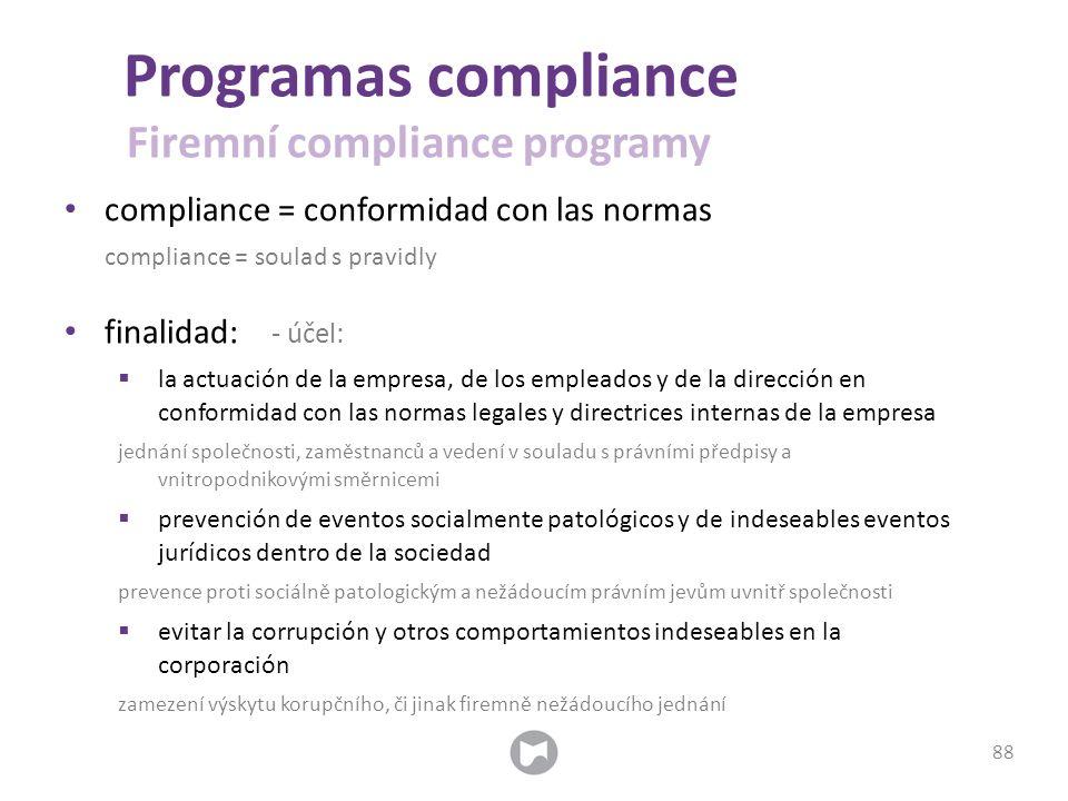 compliance = conformidad con las normas compliance = soulad s pravidly finalidad: - účel:  la actuación de la empresa, de los empleados y de la direc