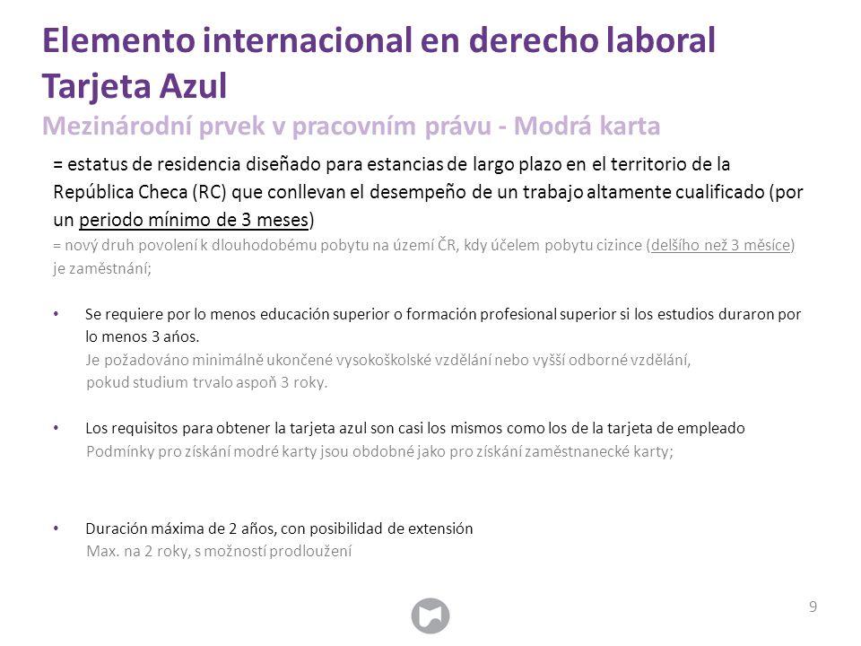 Elemento internacional en derecho laboral Tarjeta Azul Mezinárodní prvek v pracovním právu - Modrá karta = estatus de residencia diseñado para estanci