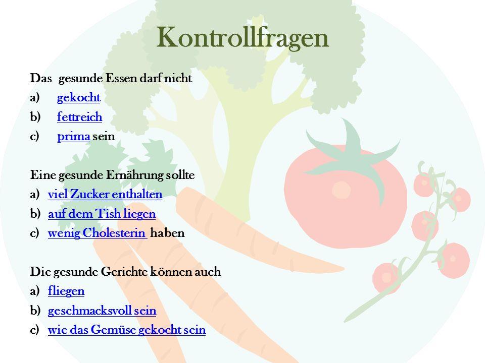 Gesunde Ernährung Deine Aufgabe: Vesuche folgende Rohsstoffen oder Essen richtig zu verteilen.
