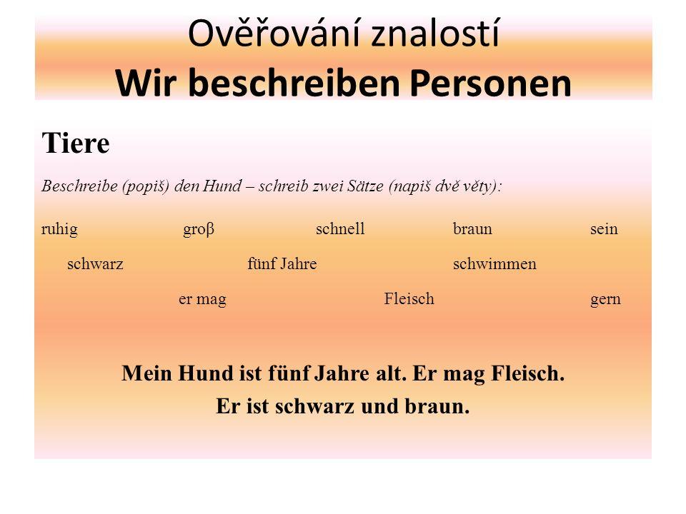 Ověřování znalostí Wir beschreiben Personen Tiere Beschreibe (popiš) den Hund – schreib zwei Sätze (napiš dvě věty): ruhig groβ schnellbraunsein schwa