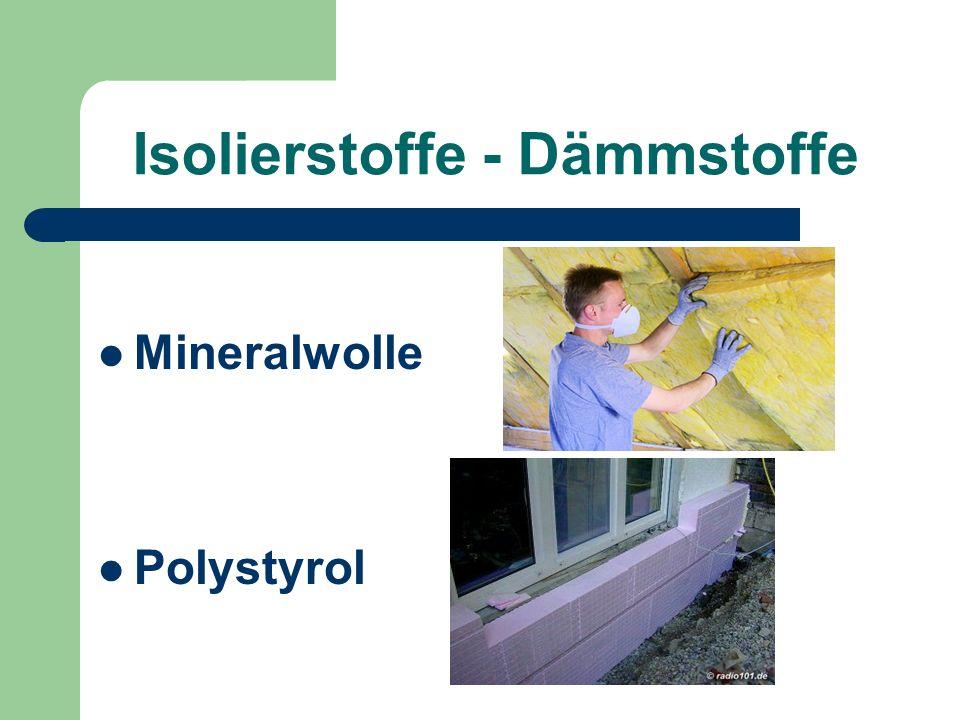Isolierstoffe - Dämmstoffe Mineralwolle Polystyrol