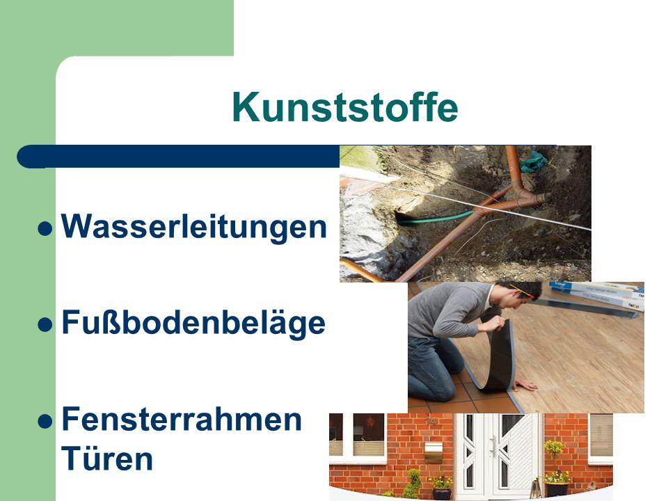 Kunststoffe Wasserleitungen Fußbodenbeläge Fensterrahmen Türen
