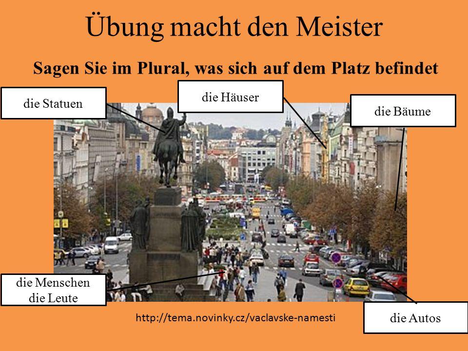 Übung macht den Meister Sagen Sie im Plural, was sich auf dem Platz befindet die Statuen die Autos die Bäume die Häuser die Menschen die Leute http://
