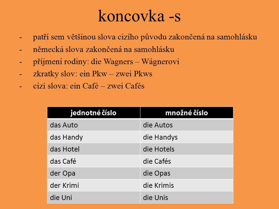 koncovka -s -patří sem většinou slova cizího původu zakončená na samohlásku -německá slova zakončená na samohlásku -příjmení rodiny: die Wagners – Wágnerovi -zkratky slov: ein Pkw – zwei Pkws -cizí slova: ein Café – zwei Cafés jednotné číslomnožné číslo das Autodie Autos das Handydie Handys das Hoteldie Hotels das Cafédie Cafés der Opadie Opas der Krimidie Krimis die Unidie Unis