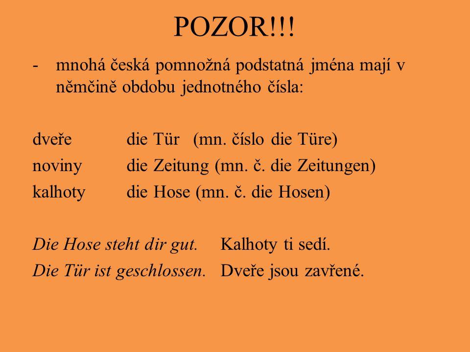 POZOR!!! -mnohá česká pomnožná podstatná jména mají v němčině obdobu jednotného čísla: dveředie Tür (mn. číslo die Türe) novinydie Zeitung (mn. č. die