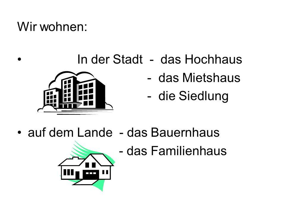 Wir wohnen: In der Stadt - das Hochhaus - das Mietshaus - die Siedlung auf dem Lande - das Bauernhaus - das Familienhaus