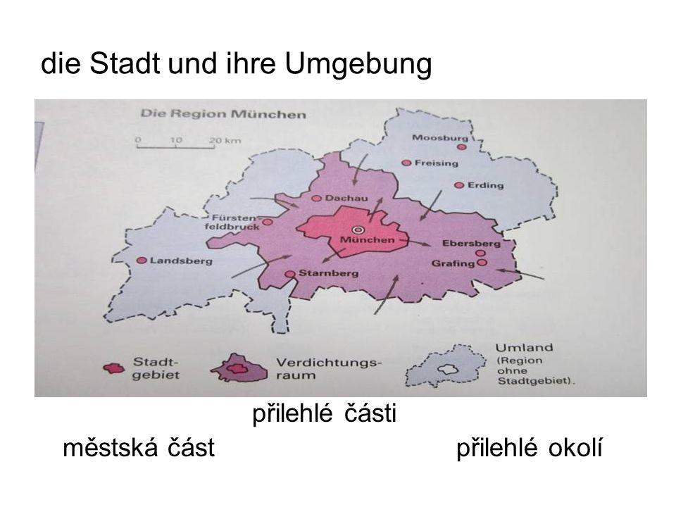 die Stadt und ihre Umgebung přilehlé části městská část přilehlé okolí