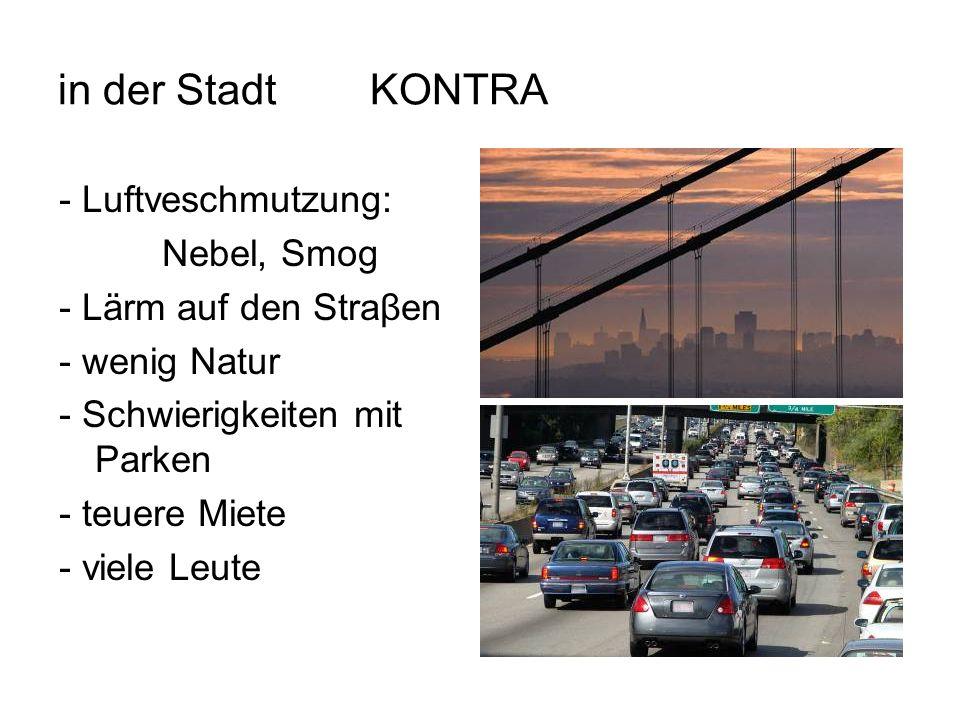 in der Stadt KONTRA - Luftveschmutzung: Nebel, Smog - Lärm auf den Straβen - wenig Natur - Schwierigkeiten mit Parken - teuere Miete - viele Leute