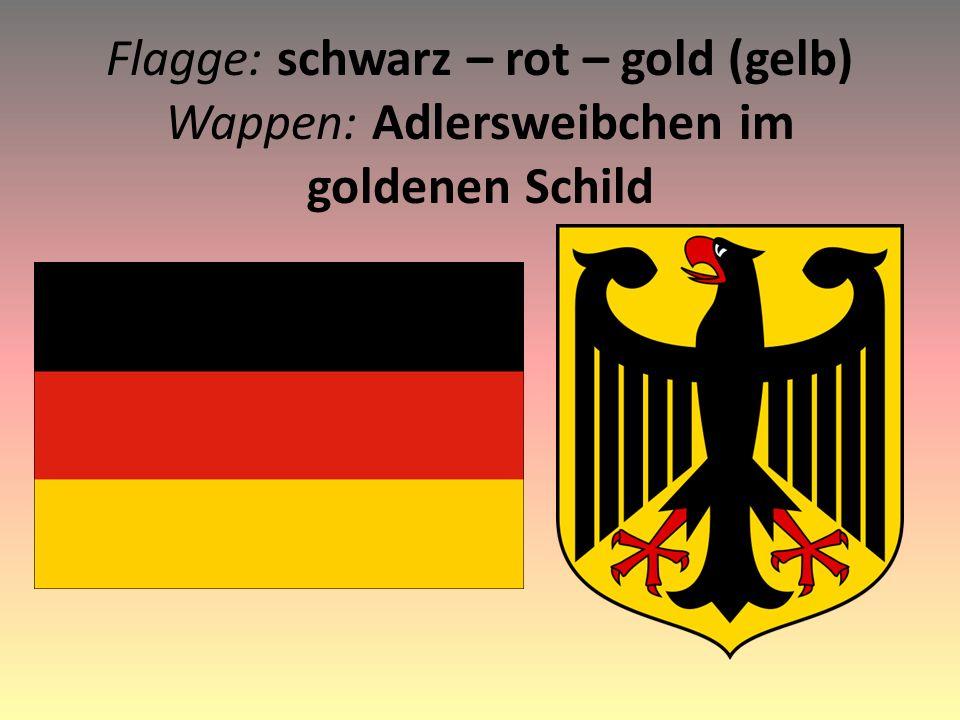 Flagge: schwarz – rot – gold (gelb) Wappen: Adlersweibchen im goldenen Schild