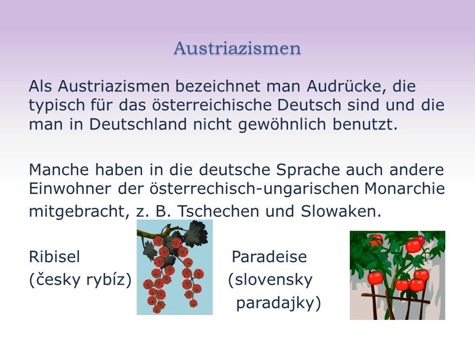 Austriazismen Als Austriazismen bezeichnet man Audrücke, die typisch für das österreichische Deutsch sind und die man in Deutschland nicht gewöhnlich benutzt.