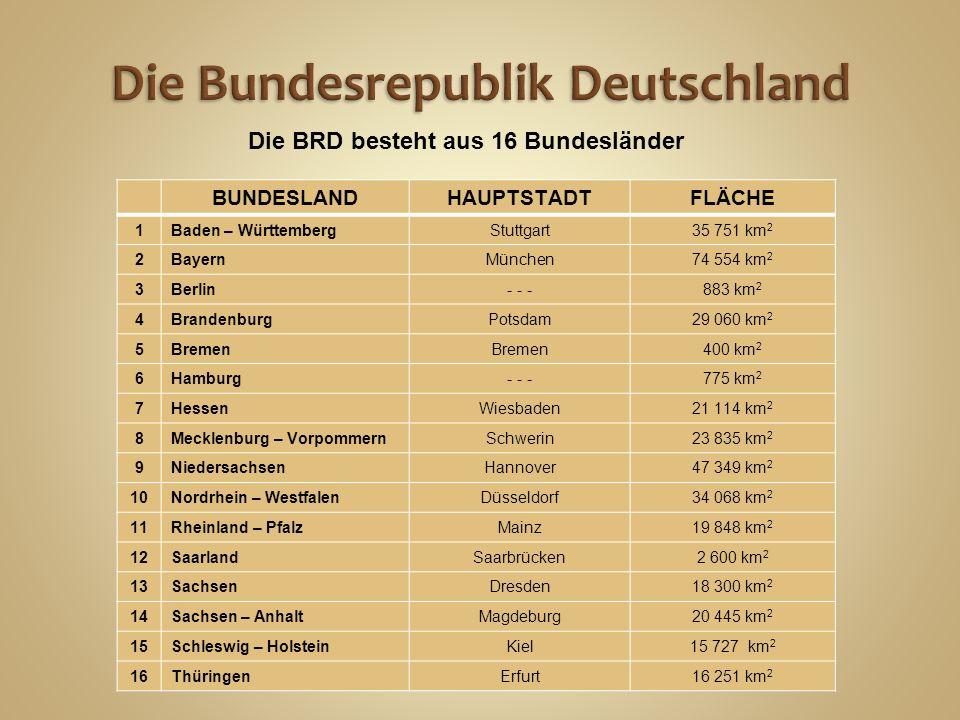 BUNDESLANDHAUPTSTADTFLÄCHE 1Baden – WürttembergStuttgart35 751 km 2 2BayernMünchen74 554 km 2 3Berlin- - -883 km 2 4BrandenburgPotsdam29 060 km 2 5Bremen 400 km 2 6Hamburg- - -775 km 2 7HessenWiesbaden21 114 km 2 8Mecklenburg – VorpommernSchwerin23 835 km 2 9NiedersachsenHannover47 349 km 2 10Nordrhein – WestfalenDüsseldorf34 068 km 2 11Rheinland – PfalzMainz19 848 km 2 12SaarlandSaarbrücken2 600 km 2 13SachsenDresden18 300 km 2 14Sachsen – AnhaltMagdeburg20 445 km 2 15Schleswig – HolsteinKiel15 727 km 2 16ThüringenErfurt16 251 km 2 Die BRD besteht aus 16 Bundesländer