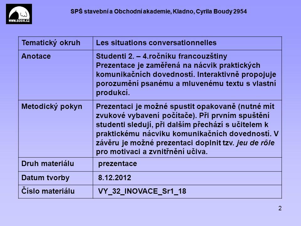 SPŠ stavební a Obchodní akademie, Kladno, Cyrila Boudy 2954 2 Tematický okruhLes situations conversationnelles AnotaceStudenti 2.