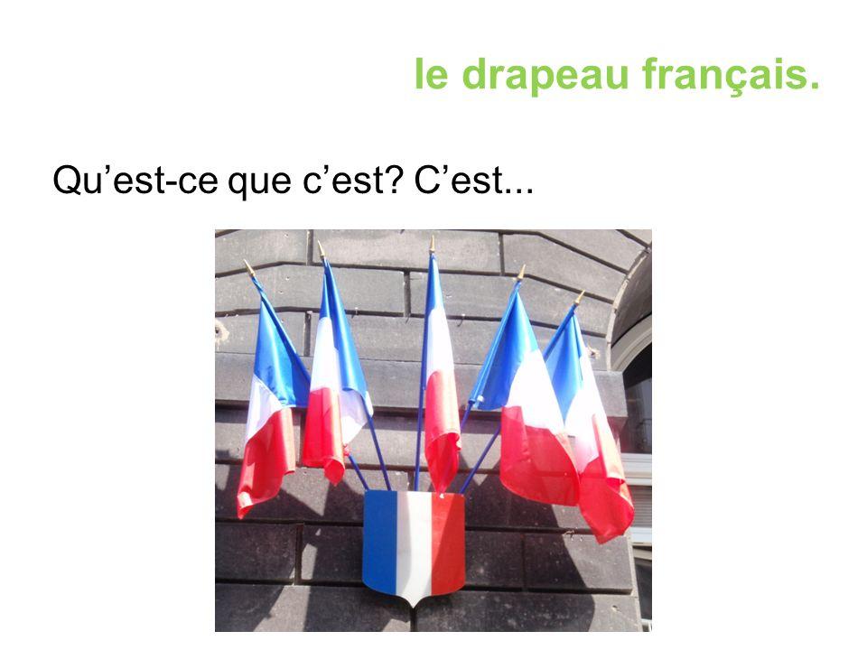 le drapeau français. Qu'est-ce que c'est? C'est...