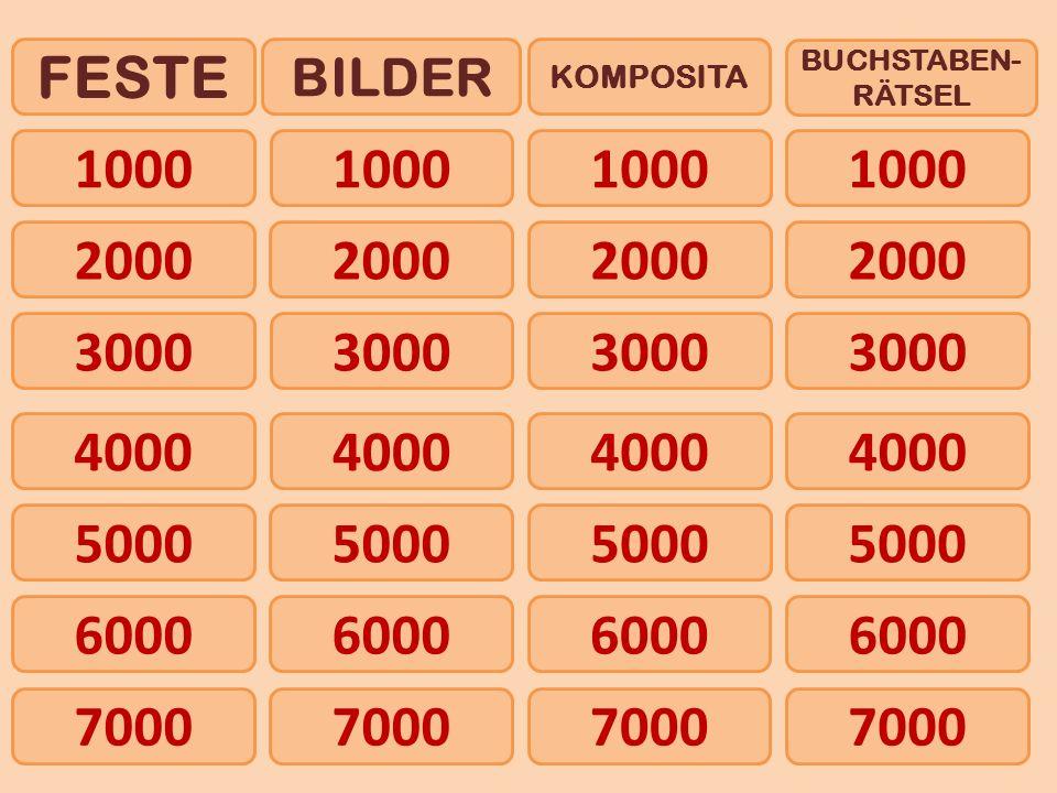 1000 FESTE BILDER KOMPOSITA BUCHSTABEN- RÄTSEL 2000 4000 5000 6000 3000 7000 1000 2000 3000 4000 5000 6000 7000
