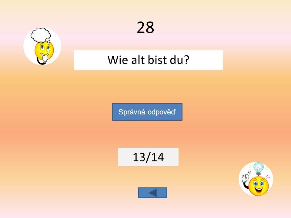 Wie alt bist du 13/14 Správná odpověď 28