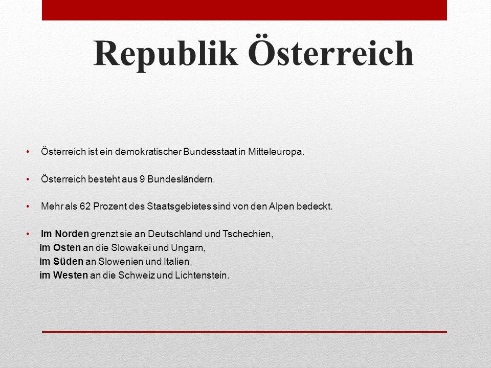 Republik Österreich Österreich ist ein demokratischer Bundesstaat in Mitteleuropa.