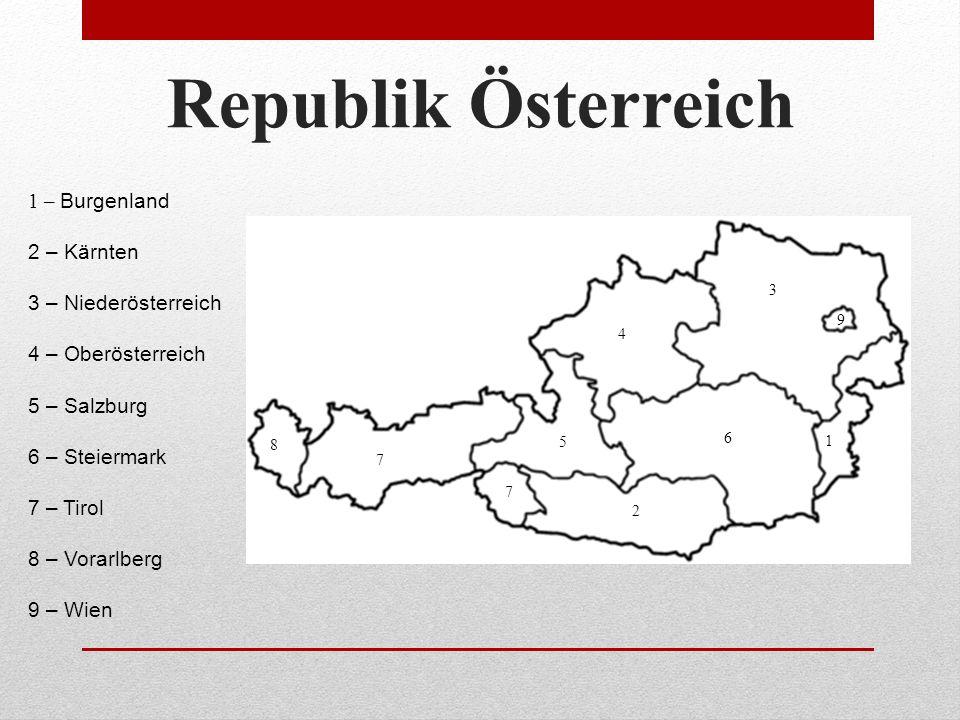 Republik Österreich 1 2 4 3 5 6 7 8 7 9 1 – Burgenland 2 – Kärnten 3 – Niederösterreich 4 – Oberösterreich 5 – Salzburg 6 – Steiermark 7 – Tirol 8 – Vorarlberg 9 – Wien