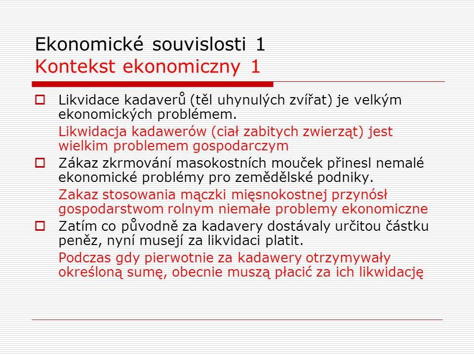 Ekonomické souvislosti 1 Kontekst ekonomiczny 1  Likvidace kadaverů (těl uhynulých zvířat) je velkým ekonomických problémem. Likwidacja kadawerów (ci