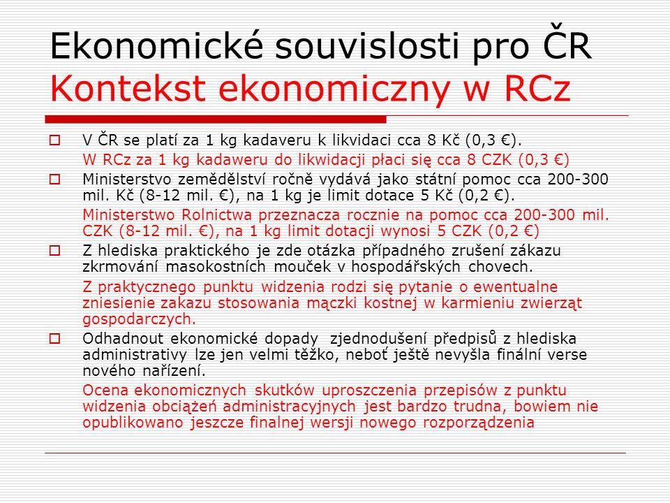 Ekonomické souvislosti pro ČR Kontekst ekonomiczny w RCz  V ČR se platí za 1 kg kadaveru k likvidaci cca 8 Kč (0,3 €). W RCz za 1 kg kadaweru do likw