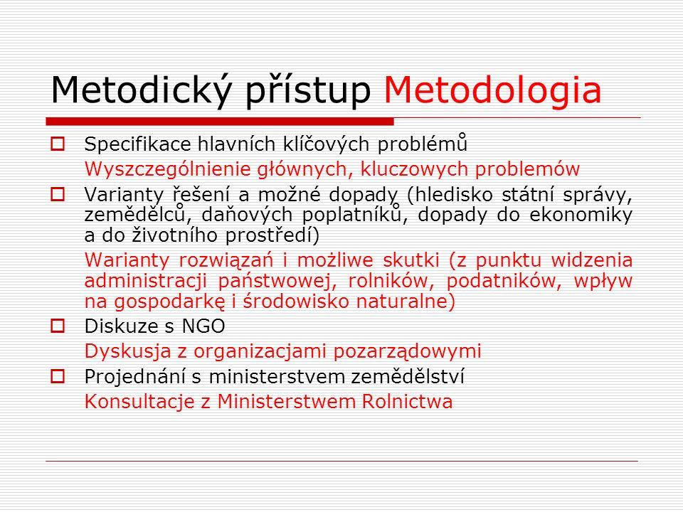 Metodický přístup Metodologia  Specifikace hlavních klíčových problémů Wyszczególnienie głównych, kluczowych problemów  Varianty řešení a možné dopa