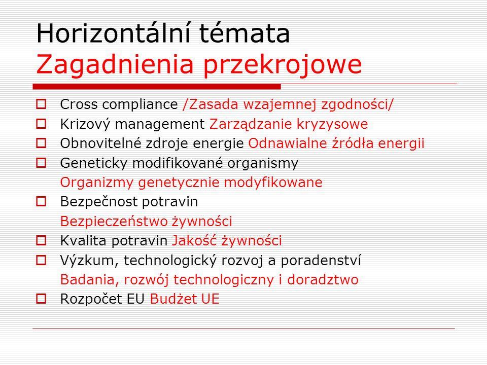 Horizontální témata Zagadnienia przekrojowe  Cross compliance /Zasada wzajemnej zgodności/  Krizový management Zarządzanie kryzysowe  Obnovitelné zdroje energie Odnawialne źródła energii  Geneticky modifikované organismy Organizmy genetycznie modyfikowane  Bezpečnost potravin Bezpieczeństwo żywności  Kvalita potravin Jakość żywności  Výzkum, technologický rozvoj a poradenství Badania, rozwój technologiczny i doradztwo  Rozpočet EU Budżet UE
