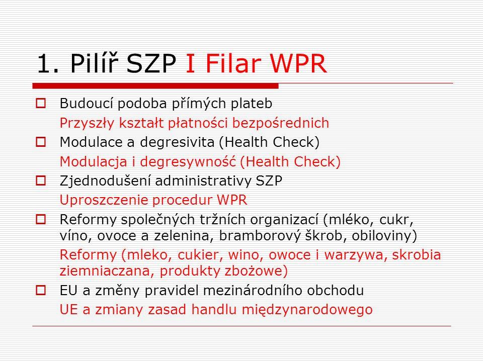 1. Pilíř SZP I Filar WPR  Budoucí podoba přímých plateb Przyszły kształt płatności bezpośrednich  Modulace a degresivita (Health Check) Modulacja i