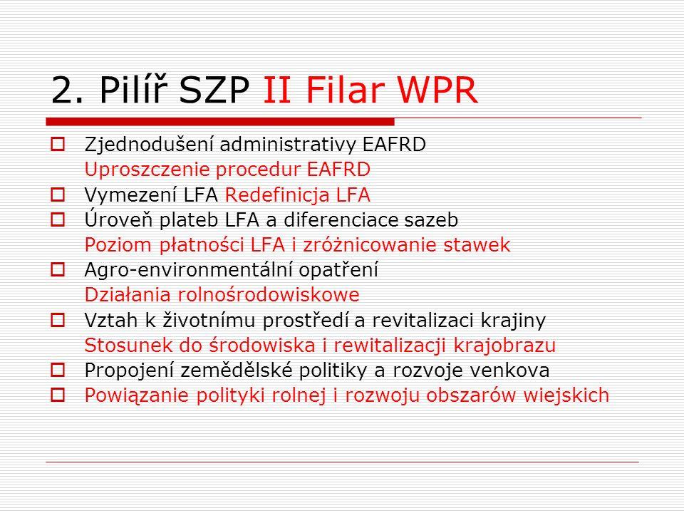 2. Pilíř SZP II Filar WPR  Zjednodušení administrativy EAFRD Uproszczenie procedur EAFRD  Vymezení LFA Redefinicja LFA  Úroveň plateb LFA a diferen